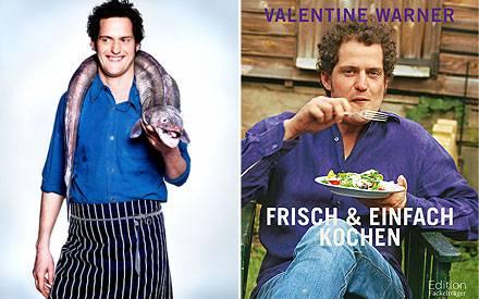 Valentine Warner hat keine Berührungsängste mit den Rohmaterialien des Kochens. Recht: Das neue Kochbuch von Valentine Warner.