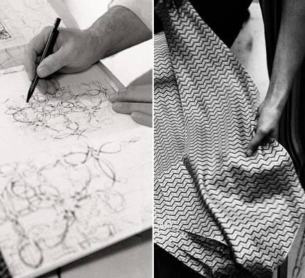 Die Entwürfe von Hermes-Designer Henri d ?Origny werden zunächst auf Seide gedruckt. Die Stoffe werden anhand eines Schnittmuste