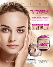 """Als neues L'Oréal-Paris- Gesicht wirbt Diane Kruger für das mattierende Make-up """"Mat Morphose""""."""