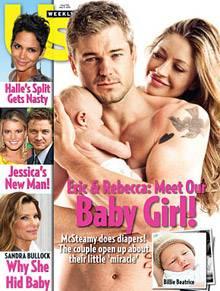 """Eric Dane, Beatrice, Rebecca Gayheart strahlen vom Cover der """"Us Weekly"""" und setzen die Baby-Cover-Wochen fort."""