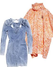 Jeans-Kleid: 29,95 Euro (links), Regenponcho: 1,95 Euro (rechts).