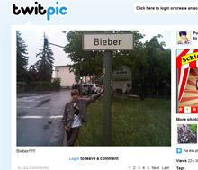 Justin Bieber in Bieber - dies Bild twitterte der junge Sänger während seines Deutschland-Trips.