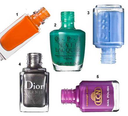 "1 ""La Laque No. 142"" von Yves Saint Laurent, 10 ml, ca. 21 Euro, 2 ""Jade is the new black"" von OPI, 15 ml, ca. 16 Euro, 3 ""717 L"