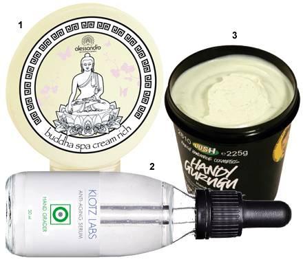 """1 """"Buddha Spa Handcreme"""" von Alessandro, 50 ml, ca. 9 Euro, 2 """"Anti-Aging Serum Hand Grader"""" von Klotz Labs, 50 ml, ca. 44 Euro,"""
