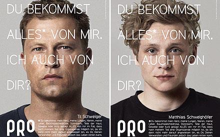 Til Schweiger und Matthias Schweighöfer fordern auf: Schafft auch Ihr Euch einen Organspendeausweis an.