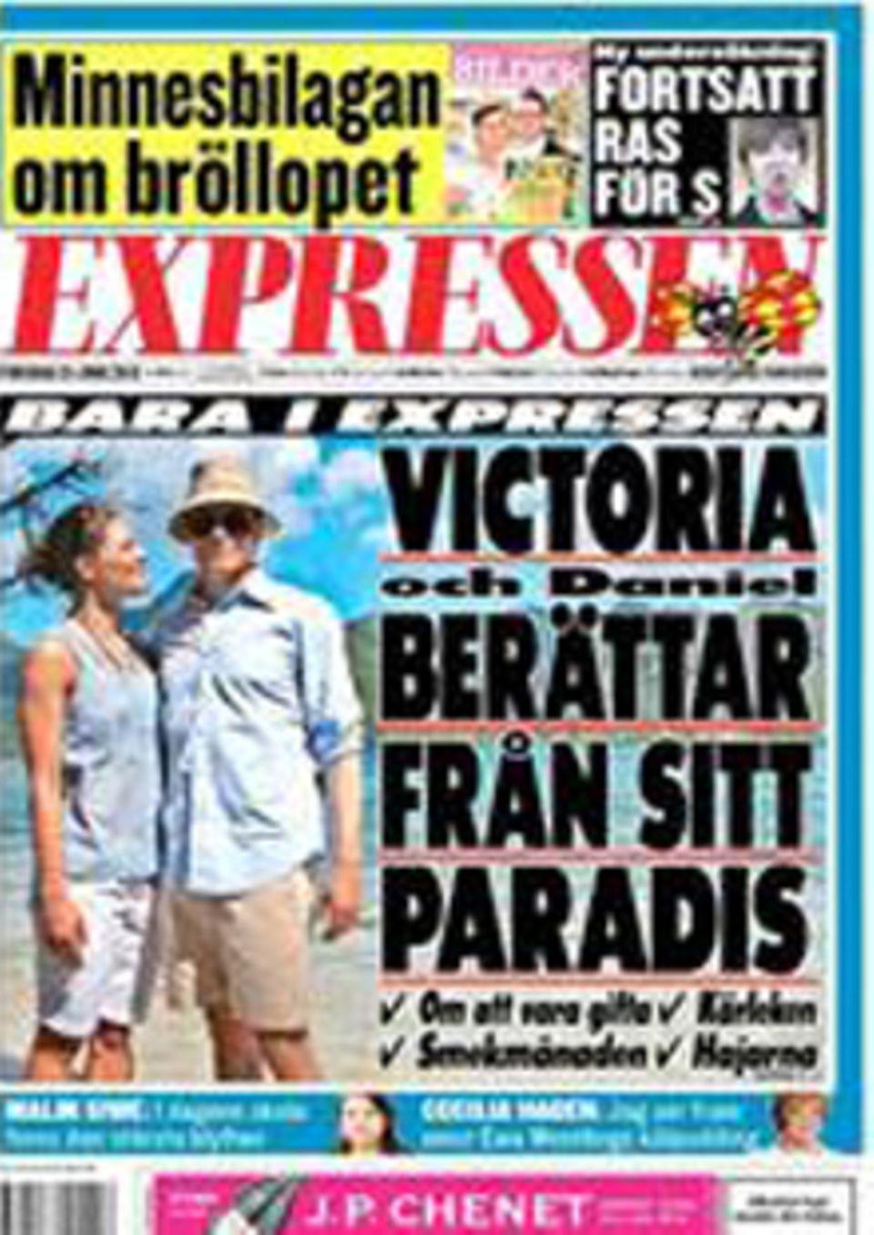 """""""Expressen"""" zeigt auf dem Cover Prinzessin Victoria und Prinz Daniel in ihren Flitterwochen auf Tahiti."""