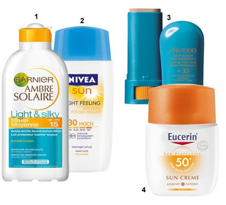 """1 """"Light Feeling Sun Lotion LSF 20"""" von Nivea, 200 ml, ca. 9 Euro; 2 """"Ambre Solaire Light & Silky LSF 20"""" von Garnier, 200 ml, c"""
