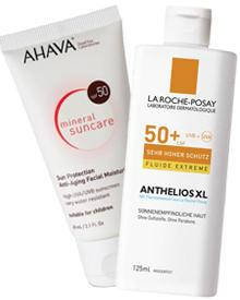 """Anthelios XL 50+"" von La Roche-Posay, 50 ml, ca. 20 Euro; ""Mineral Suncare SPF 50 Very Water Resistant"" von Ahava, 60 ml, ca. 2"