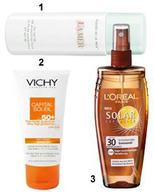 """1 """"SPF 30 UV Protecting Fluid"""" von La Mer, 40 ml, ca. 80 Euro. 2 """"Capital Soleil 50 + Gel-Creme"""" fürs Gesicht von Vichy, 50 ml,"""