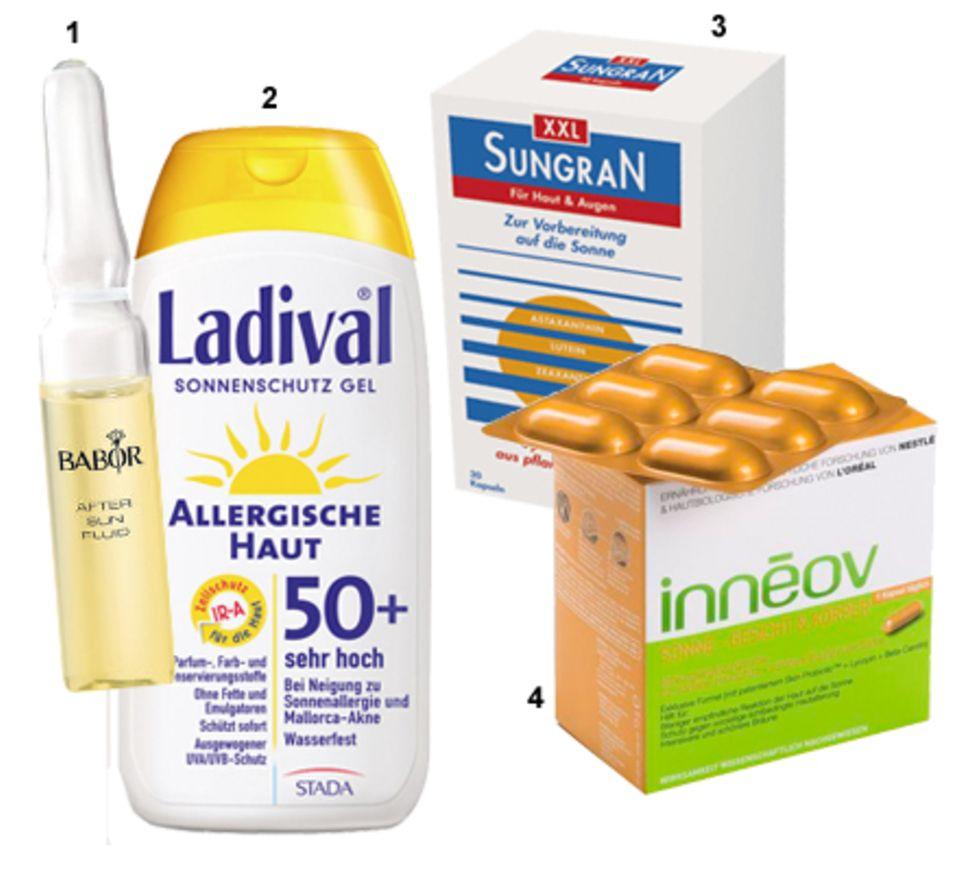"""1 """"After Sun Fluid"""" von Babor, 7 x 2 ml, ca. 22 Euro. 2 """"Allergische Haut Gel LSF 50+"""" von Ladival, 200 ml, ca. 18 Euro. 3 """"XXL-"""