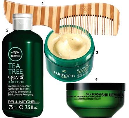 """1. """"Healthy Hair Bamboo Comb"""" von Olivia Garden (ca. 3 Euro, über www.hagelshop.de) 2. """"Tea Tree Special Shampoo"""" von Paul Mitch"""