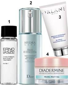 "1 ""Hydra-Therapy Skin Vitality Treatment, 2-Phasen-Feuchtigkeitsmaske"" Erno Laszlo (ca. 64 Euro) 2. ""Masque Hydratant Biomimetiq"
