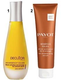 """1 """"Serum Activateur"""" von Payot (125 ml, ca. 27 Euro); 2 """"Aromessence Solaire Serum Activateur de Bronzage"""" von Decleor (15 ml, c"""