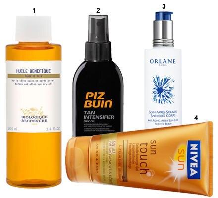 """1 """"Huile Benefique"""" von Biologique Recherche (100 ml, ca. 60 Euro); 2""""Tan Intensifier Spray SPF 30"""" von Piz Buin (150 ml, ca. 20"""
