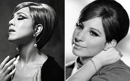 Zum Vergleich: Links Jennifer Anistion, rechts ihr großes Idol Barbra Streisand.