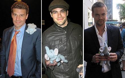 David Boreanaz, Chris Pine und Shane West lächeln mit dem Elefanten um die Wette.