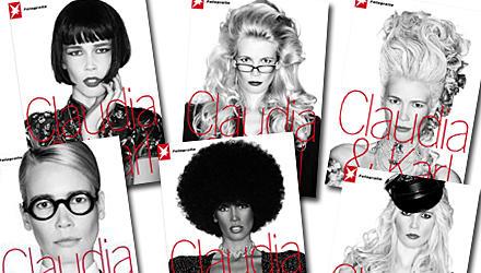 """Stationen einer Karriere: Der Bildband """"Claudia & Karl"""" (mit sechs unterschiedlichen Covern) zeigt die besten Arbeiten Claudia S"""