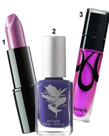 "1. ""Perfect Color Lipstick"" (Nr. 86 ""Dark Purple"", Artdeco, ca. 10 Euro); 2. Bio-Lack für die Nägel - ohne Toluol, Formaldehyde"