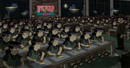 Hier kommt der Film im Vorspann: Eine Halle mit Simpsons-Arbeitssklaven, dazu wehmütige Musik. Verantwortlich für das Kunststück