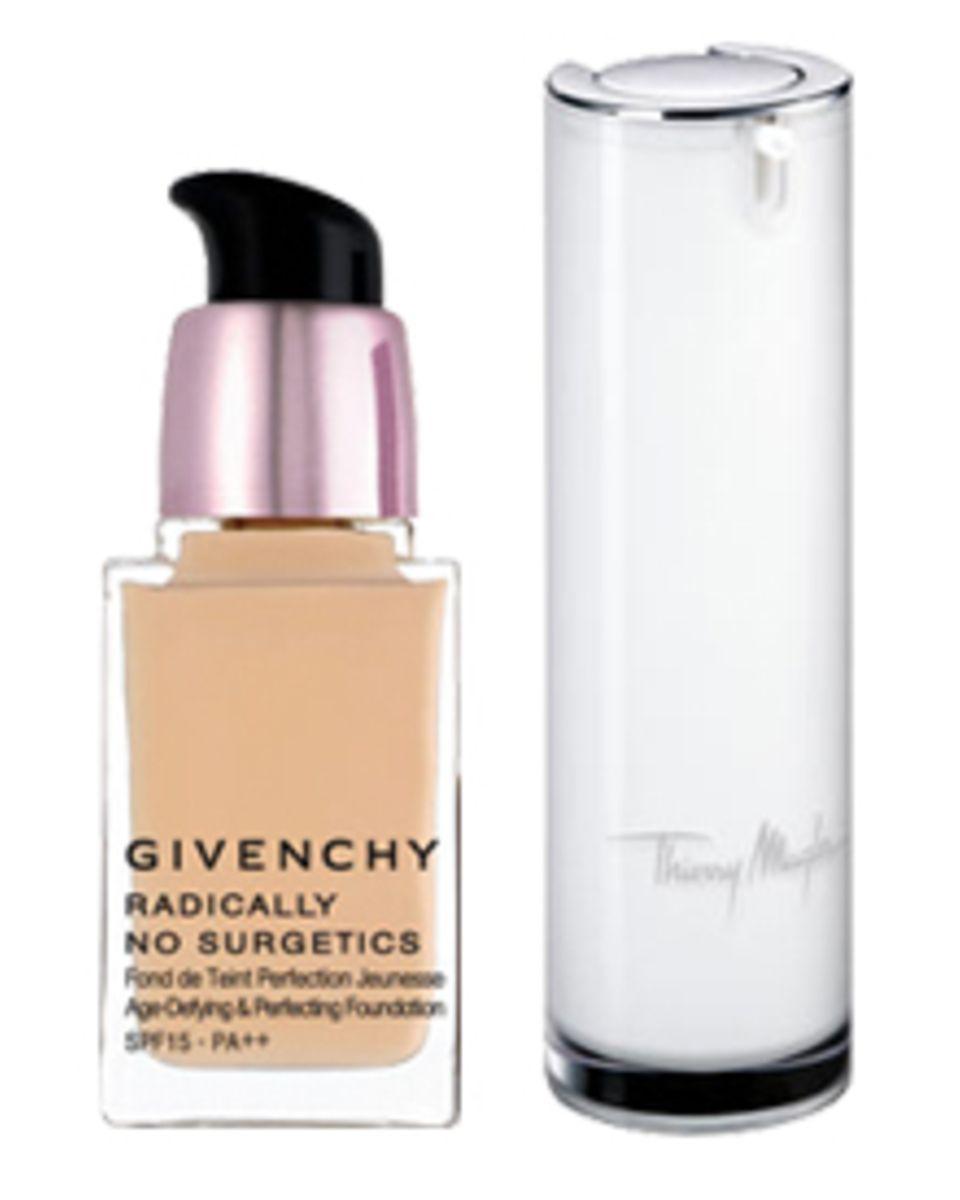 """""""Radically No Surgetics"""". Von Givenchy, 25 ml, ca. 60 Euro, ab November.  """"Teint Ergonomy"""" von Thierry Mugler, 30 ml, ca. 42 Eur"""