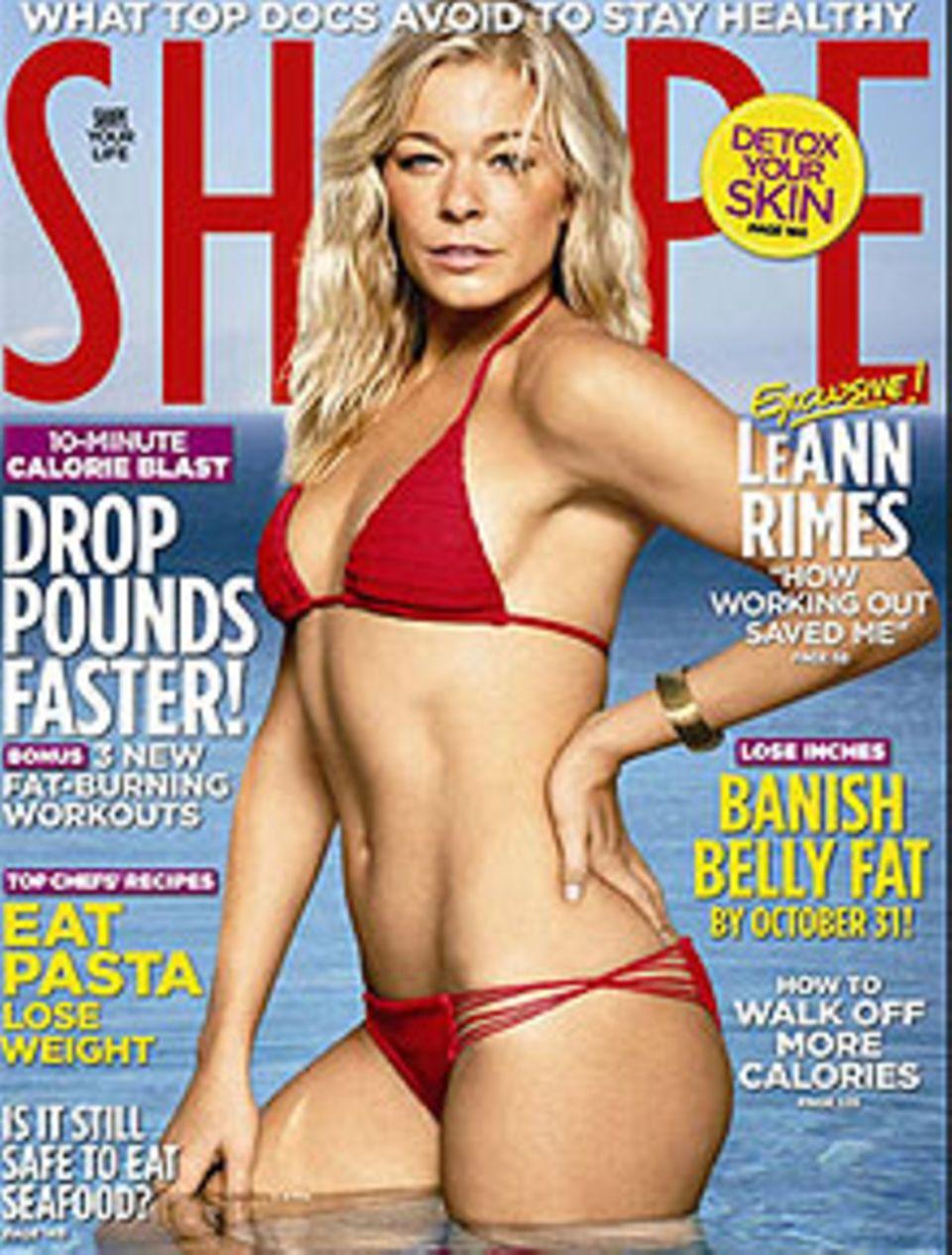 """Selbstbewusst und glücklich: LeAnn Rimes auf dem Cover der """"Shape""""."""