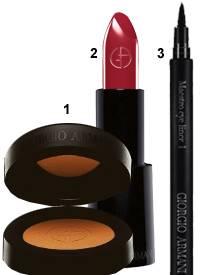 """1 """"Mono Eyeshadow 25"""", ca. 30 Euro; 2 """"Rouge d'Armani 403"""", ca. 29 Euro; 3 """"Maestro Eyeliner"""", ca. 23 Euro (Alle Produkte von Ar"""