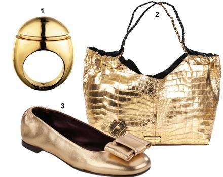 1. Ring von Dyrberg/Kern, ca. 115 Euro; 2. Krokoleder-Tasche von Analeena, ca. 13 500 Euro; 3. Limitierte Ballerinas von Attilio