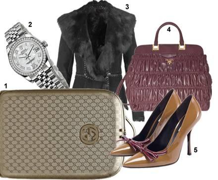 1. Der goldene Trolley (1650 Euro) von Gucci mit dem GG-Logo; 2. Rolex Oyster Perpetual Datejust (11 290 Euro) steigt der Wert d