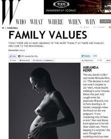 """Die schwangere Miranda Kerr posiert nackt für die Dezemberausgabe des """"W""""-Magazins."""