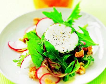 Sehr sommerlich und leicht, Salat mit Ziegenkäsetalern.