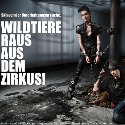 """Bill und Tom Kaulitz von """"Tokio Hotel"""" posieren für eine Tierschutz-Kampagne gegen den Einsatz von Tieren in der Unterhaltungsin"""