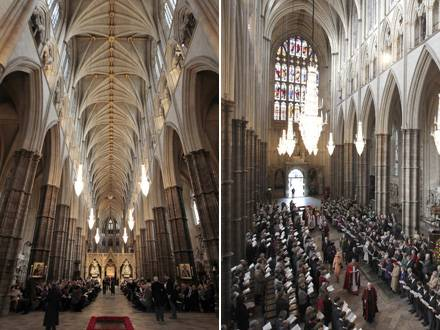So blickt das Brautpaar im April Richtung Altart (links) und nach der Trauung Richtung Ausgang (rechts).