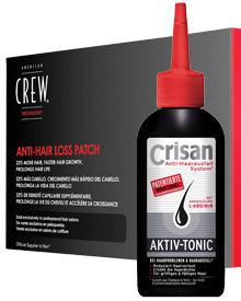 Anti-Hair Loss Patch von American Crew, 60 Stück, ca. 60 Euro, Anti-Haar-Ausfall Aktiv-Tonic von Crisan, 150 ml, ca. 5 Euro.