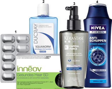 1. Gesundes Haar SD-Nahrungsergänzung von Innéov, 30 Stück, ca. 25 Euro; 2. Squanorm Anti-Schuppen Zink Haartinktur von Ducray,