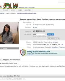 Für den angeblichen Pullover von Ashton Kutcher steht mittlerweile schon bei 20. 000 Dollar.