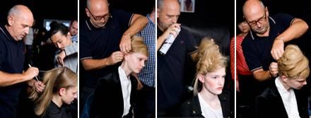 Sam McKnight und sein Assistent Koji sind hochkonzentriert bei der Arbeit für die Vivienne-Westwood-Show