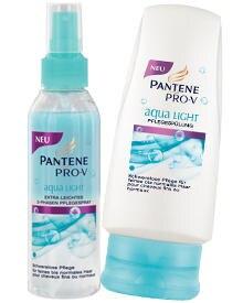 """Basis eines Top-Stylings ist gesundes Haar. Sams Empfehlung: 2-Phasen-Pflegespray und Pflegespülung aus der """"Aqua Light""""-Linie ("""