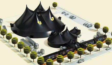 Ein Modell des eigens konstruierten Tourneezeltes mit Katzenaugen und gleich vier spitzen Ohren.