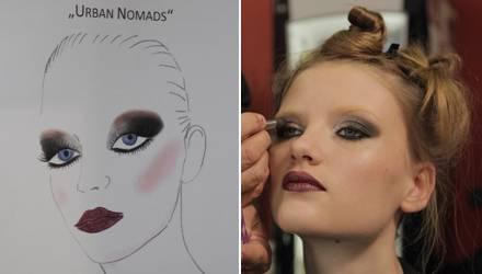 Make-up-Skizzen (links) dienen den Visagisten als Vorlage für die Umsetzung am Model.