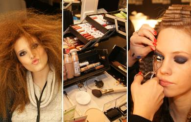 Eine von 30 Show, für die die Models geschminkt werden: Backstage für Die Show von Guido Maria Kretschmer.