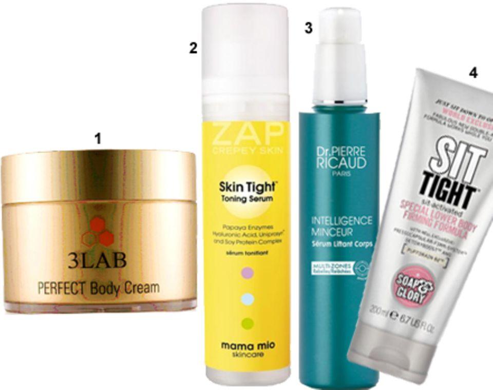 """1 """"Perfect Body Cream"""" von 3Lab, 200 ml, 195 Euro; 2 """"Skin Tight Toning Serum"""" von Mama Mio, 100 ml, ca. 65 Euro; 3 """"Intelligenc"""