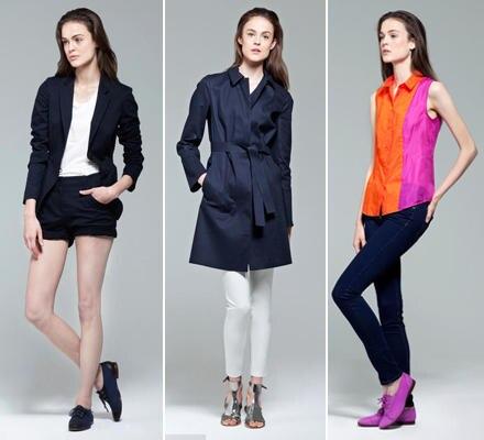 Unkompliziert: Blazer mit T-Shirt und passenden Shorts; Urban: Trenchcoat mit silbernen Sandalen; Frisch: zweifarbiges Shirt mit