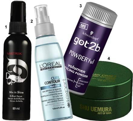 """Clevere Styling-Helfer: 1. Glanz-Serum """"Mix in Shine"""" von Matrix, 89 ml, ca. 10 Euro; 2. Locken-Spray """"Curl Contour"""" von L'Oréal"""