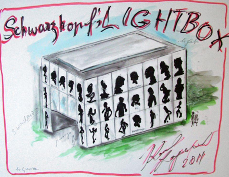 Der markante historische Scherenschnitt ergab die Vorlage für moderne Lagerfeld-Kunst.