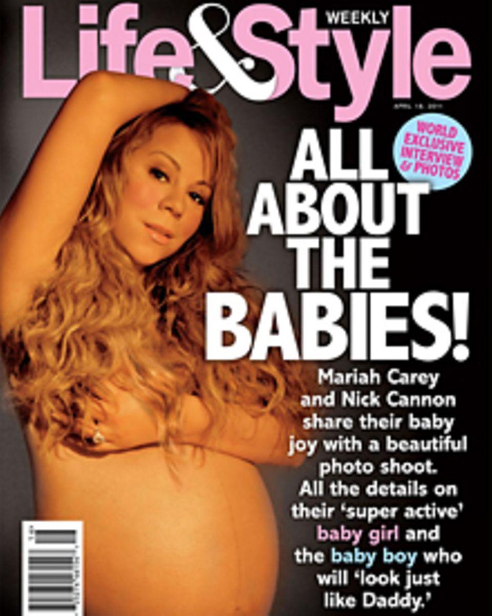 """Stolz zeigt Mariah Carey ihren Babybauch auf dem Cover der aktuellen """"Life&Style""""."""