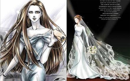 Bella alias Kristen Stewart: Links als cooler Vampir, rechts als Braut in einem wunderschönen Kleid.