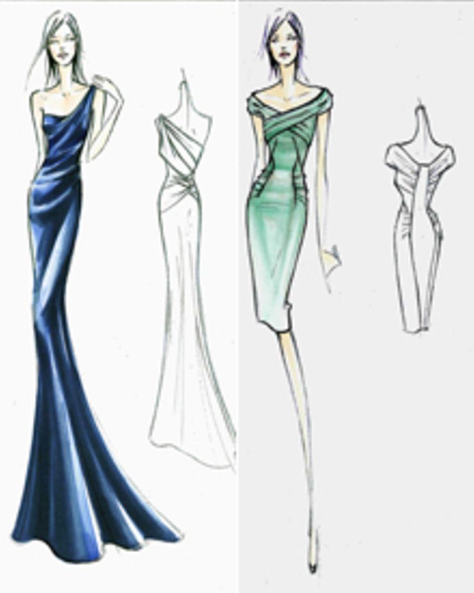 """Diese Kleider von """"Alberta Ferretti"""" wird Chelsy Davy zur Traumhochzeit von William und Kate tragen."""