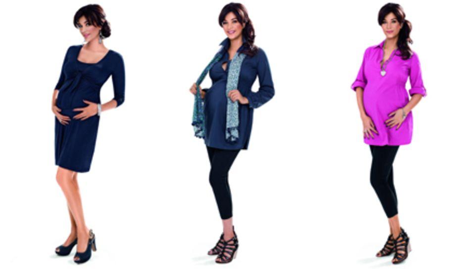 Die Umstandsmodekollektion von Verona Pooth umfasst unter anderem T- Shirts und ein Kleid.