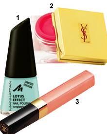 """1. Nagellack """"Lotus Effekt/ Fresh Excited"""", von Manhattan, ca. 4 Euro; 2. """"Creme de Blush"""" No. 5 - in Pink! Von YSL, ca. 37 Euro"""