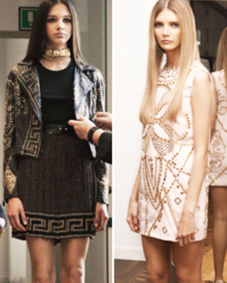"""""""Hart trifft zart"""" ist Versaces Motto: Donatellas Liebe zu Leder und Nieten brachte sie auch in die H&M-Kollektion mit ein."""